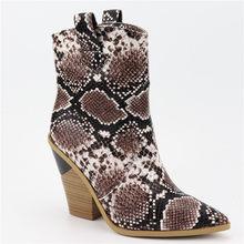 EUR Formato 34-46 delle donne di Marca stivali di serpente di spessore tacchi alti stivali autunno inverno di modo di alta qualità breve caviglia caricamenti del sistema delle signore scarpe(China)