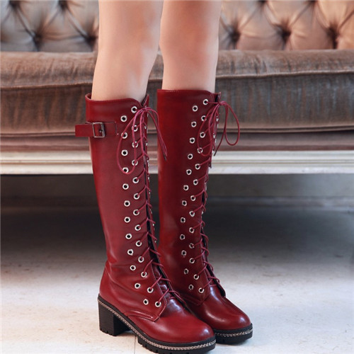 2015 Autumn Winter Womens Punk Buckle Chunky Thick Mid Heel Lace Knee High Military Motocycle Riding Boots Female Shoes - Shop639677 Store store