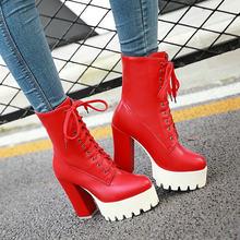 Yüksek Topuk Lace Up Boots Moda Platformu yarım çizmeler Kadın Sonbahar Kış Bayanlar Ayakkabı Beyaz Siyah Kırmızı 2018 Dropshipping(China)