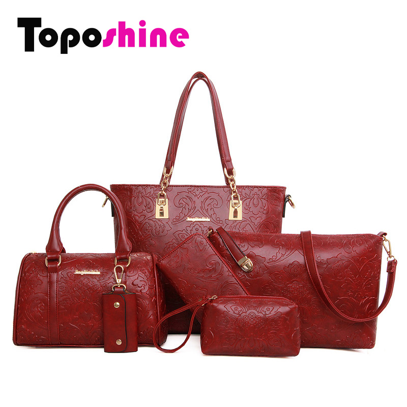 Гаджет  October New 6 Bags Per Set Women Handbag Pressed Flower Women Bags Flower Pattern PU Leather Lady Shoulder Bags for Women 1012 None Камера и Сумки