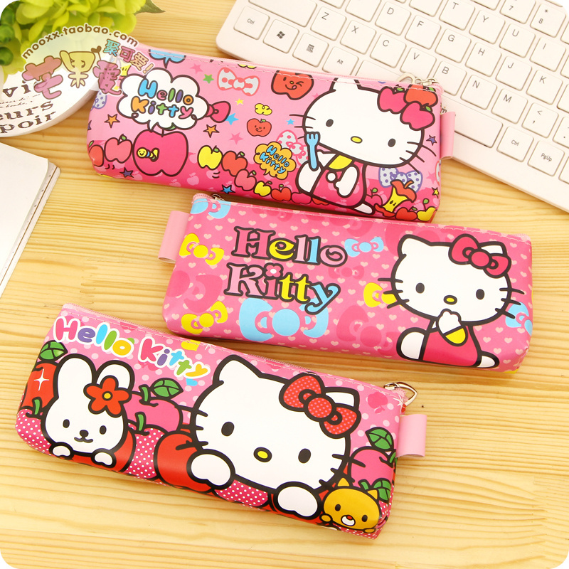 New PU Leather Kawaii Cute Hello Kitty Pencil Case For Girls Pen Bag Zipper Stationery Pouch School Supplies Pencilcase Trousse(China (Mainland))