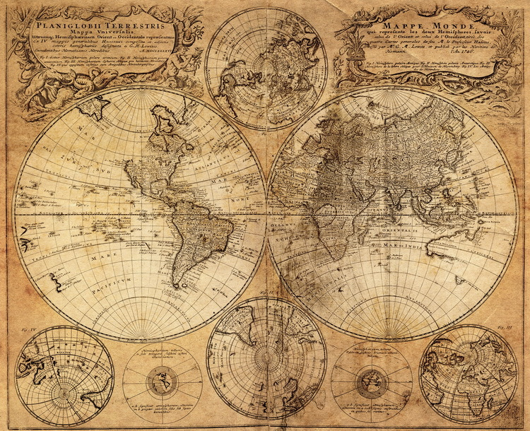 Antique Imitated 1746 World Map Old Memory World Sailing