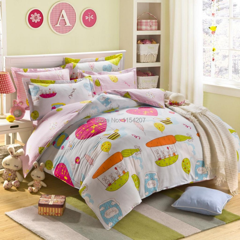Home textile cartoon anime 100 cotton kids bedding sets for Queen size bedroom sets with mattress
