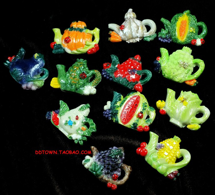 Free shipping ( 12 pcs/lot ) upscale fruit vegetables Pot hand-painted fridge refrigerator magnets three-dimensional hand crafts(China (Mainland))