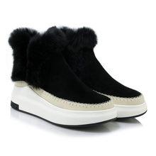 Meotina invierno mujer zapatos de cuero Natural botas de tobillo coser botas de piel de conejo plataforma cuñas zapatos de tacón alto botas de mujer(China)