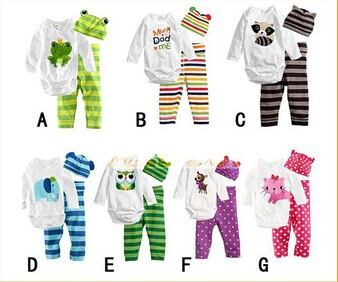 Baby rompers long sleeve cotton baby infant cartoon Animal newborn clothes romper+hat+pants clothing set DS6 - BABY&KIDS STORE store