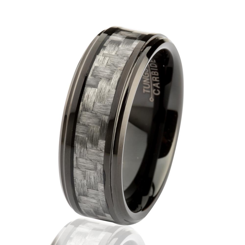 8MM Women Mens Black Vintage Tungsten Carbide Engagement Fashion Rings With Grey Carbon Fiber
