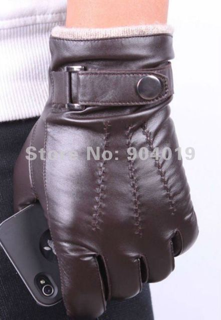 Men's Deluxe Fashion Genuine Lamb Leather Wrist Gloves 3 Lines black brown