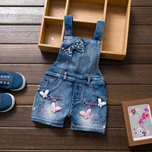 2016 SPRING Summer US Style Girl Jumpsuit Cute Sweet Fashion Washed Jeans Denim Romper Jumpsuits Straps Short Pants Cowboy Blue(China (Mainland))