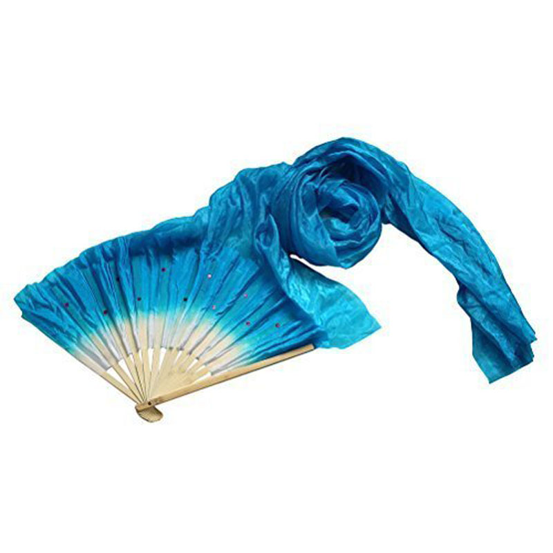 1.8m Hand Made Colorful Belly Dancing Bamboo Long Silk Fans Veils Dance Fan(China (Mainland))