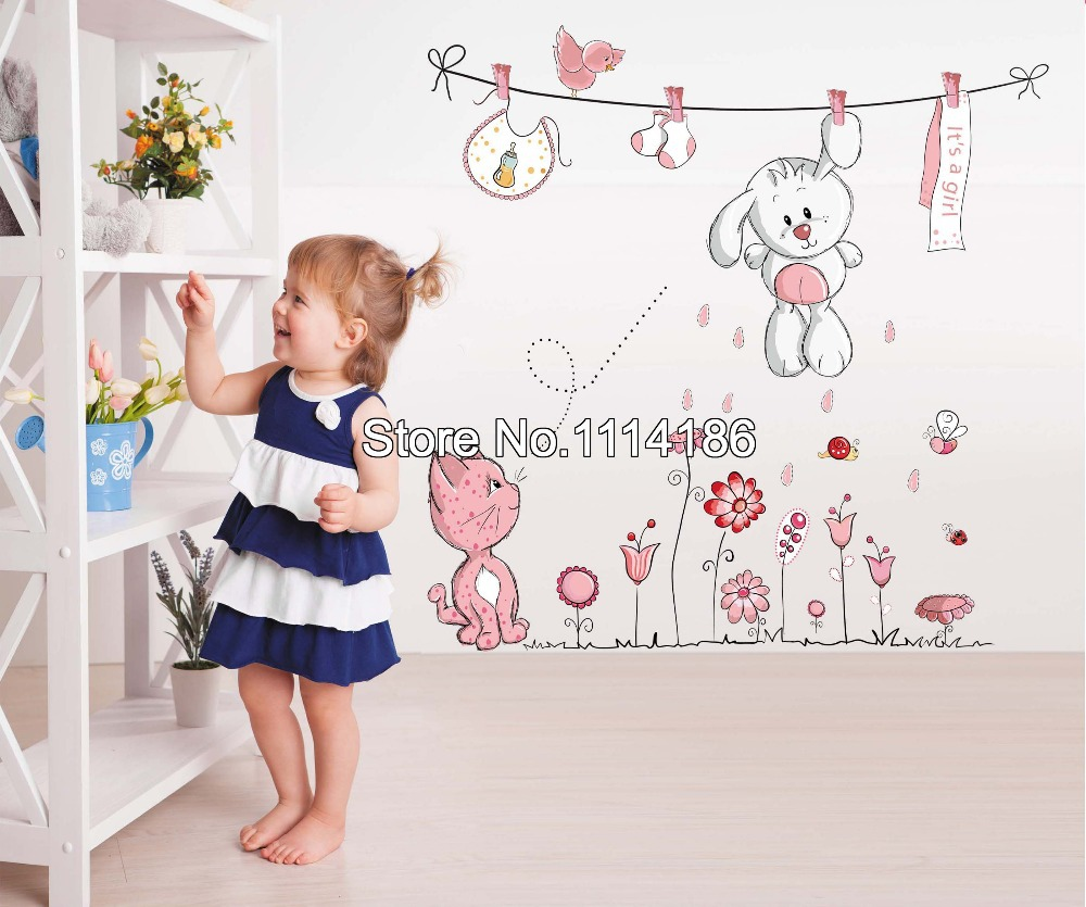 buy new pink cartoon cat drying clothes