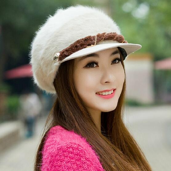 2015 Seasonal Winter Fur Hat For Woman Knitted Wool Caps Woman's Fashion Hats Beanies For Lady Gorros Skullies Bone(China (Mainland))