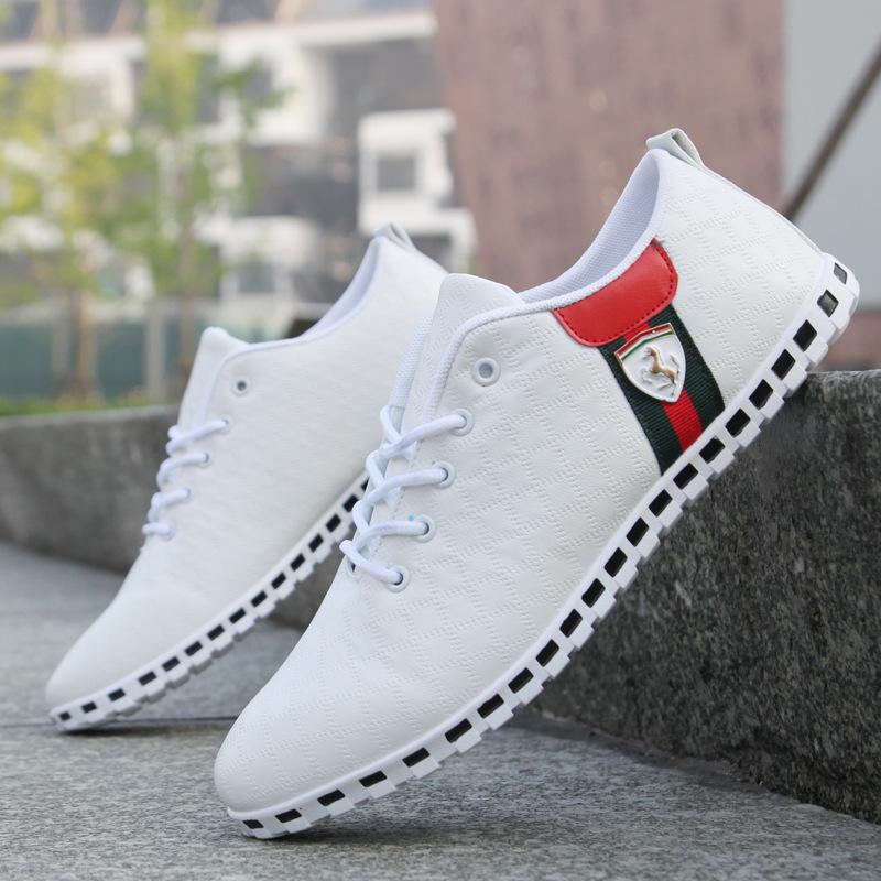 Fashion Brand Hot Autumn Winter Men PU Paint Skin Running Sports Shoes Casual Men's Flats Sneakers Plus size 39-46 Free Shipping(China (Mainland))