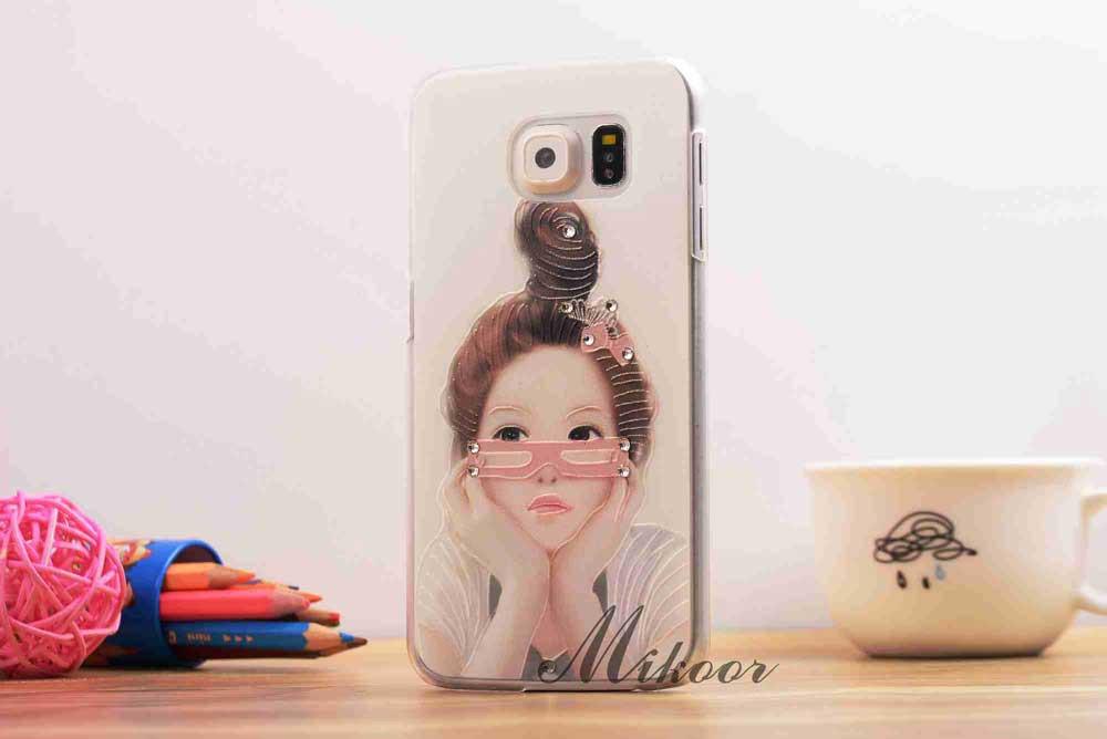 luxury mobile phone case for samsun samsung galaxy s6 tpu soft cartoon girl flower beautiful cover rhinestones original women s(China (Mainland))
