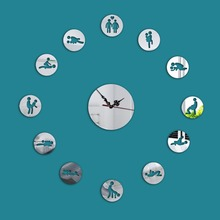 Personality Removable DIY Acrylic Wall Clock Mirror Wall Decal Wall Sticker Home Decoration(China (Mainland))