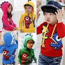 2014 autumn and winter boys girls clothing child fleece with a hood sweatshirt outerwear wt-0096(China (Mainland))