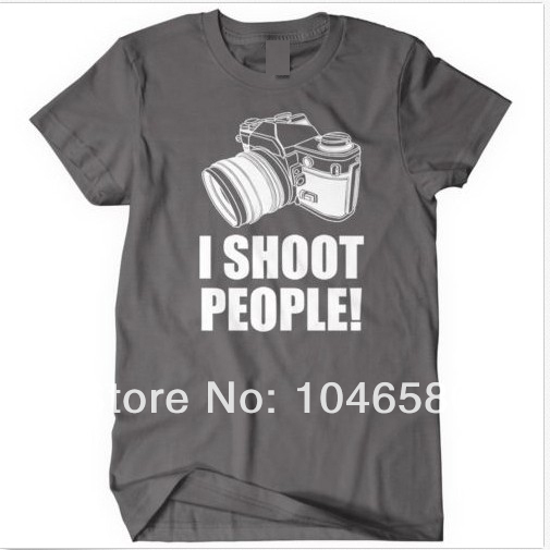 New design t shirt I Shoot People T-Shirt Funny Photographer TEE Camera Photography tshirt for men women can oem/diy logo(China (Mainland))