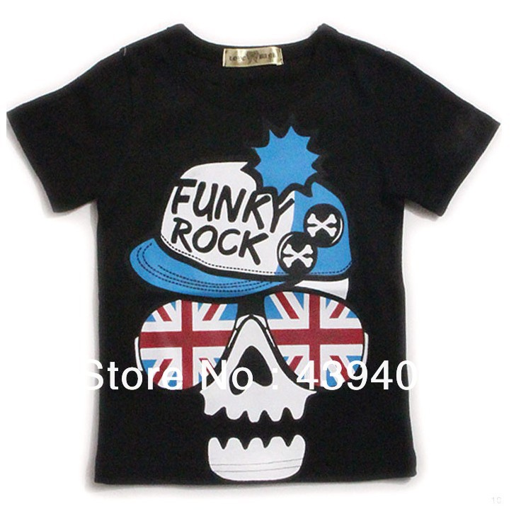 Free shipping summer children kids boys t shirt novely skull tees boys t shirt for 2-7 years olds children clothes t shirt(China (Mainland))
