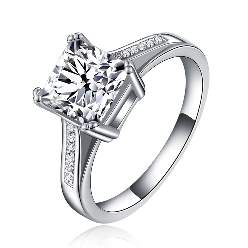 2016 white gold plated CZ Diamond ring Jewelry filled luxury Engagement wedding Rings for women Bague bijoux accessories MYR079(China (Mainland))