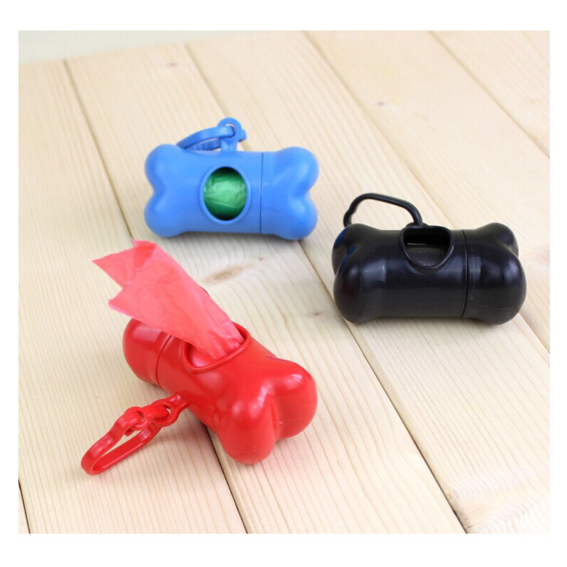 1 Roll Bags +1PCS Bone Case Dispenser Pet Dog Poop Waste Bags for Bags on Board Biodegradable(China (Mainland))