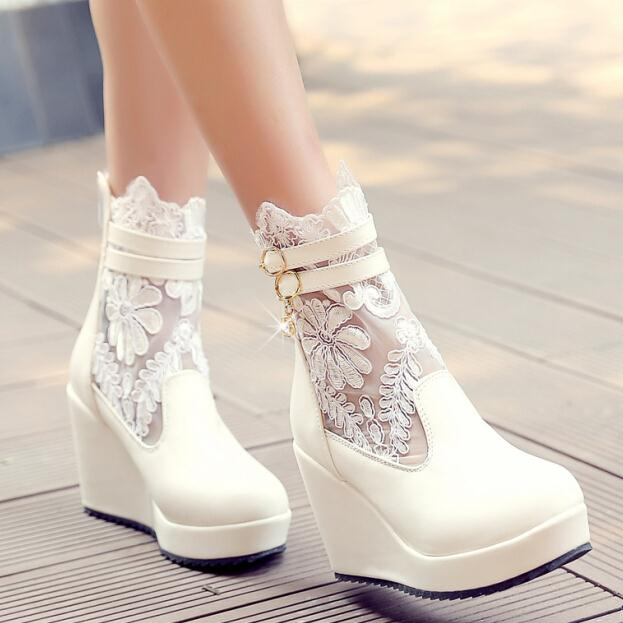 ENMAYERnew motorcycle wedges bootssales ankle boots Lace Woman summer Boots high-heel Zipper Buckle Woman Ankle Boots size 34-43<br><br>Aliexpress