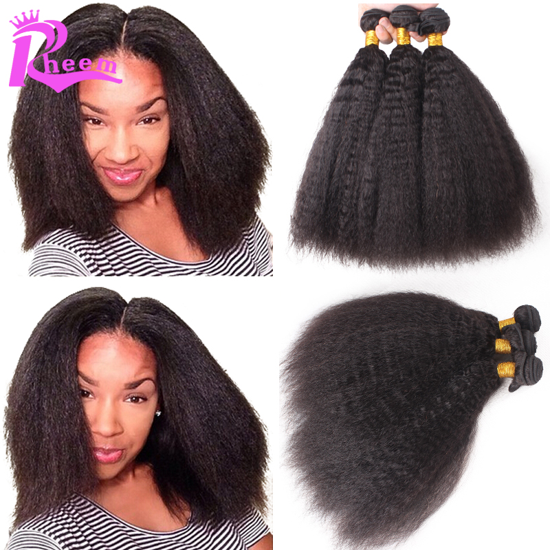6A Mongolian Kinky Straight Hair Weave 3/4pcs Lot,Yaki Human Hair Bundles,Coarse Yaki Virgin Hair Italian Yaki All Free Shipping
