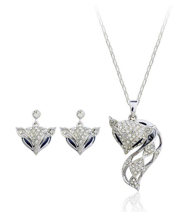 Lovely Fox 18K White Gold Plated Jewelry Necklace Earrings Set Made Austrian Crystals SB019 - szwxfx store (MOQ:15USD store)