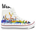 Wen Original Hand Painted Shoes Custom Design Casual Shoes New York City Skyline Women Men s