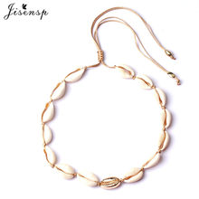Jisensp Stainless Steel Bead Sheel Charm Necklace Boho Fashion Seashell Chokers Necklace for Women Girls Birthday Party Gift(China)