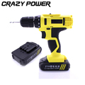 CRAZY POWER 21V 2 Speed 2 Batteries Electric Drill Lithium Cordless Drills Multi function Household Electric
