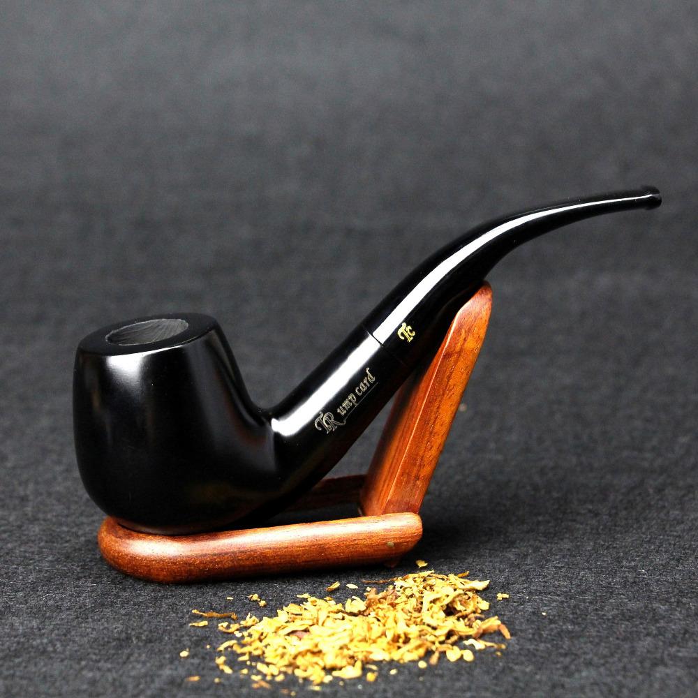 10 Tools Smoking Set Ebony Wood Smoking Pipe Handmade Black Tobacco Pipe 9mm Filter Wood Pipe Classic Bent Pipe SP-002(China (Mainland))