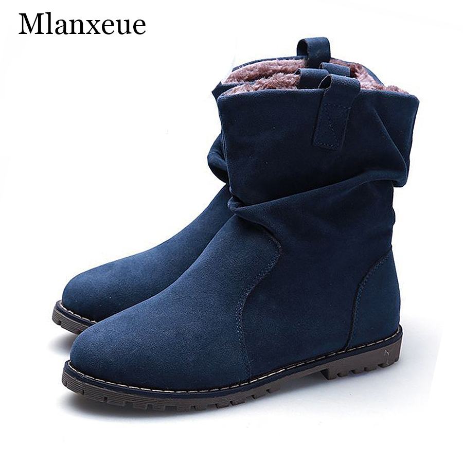 MLANXEUE New Large Size 34-43 Retro Suede Flats Boots Women Warm Winter Female Short Tube Snow Shoes Men Casual Boots Lovers(China (Mainland))