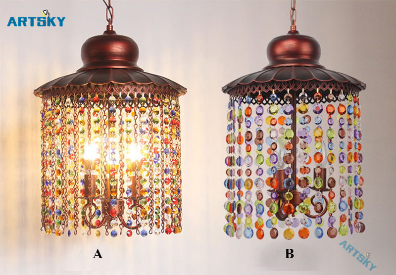 bohemia crystal pendant lamps lighting southeast asia color crystal