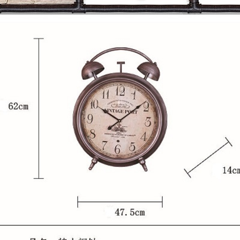 American Iron King retro alarm clock large digital wall clock IKEA home furnishings can be wall wall decoration Desktop saat(China (Mainland))