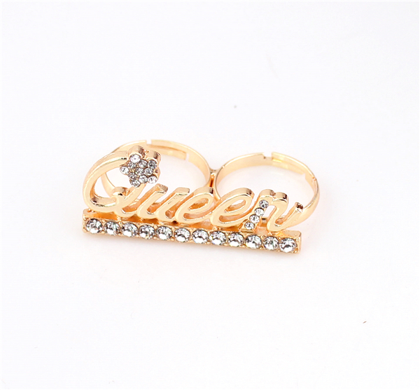 Letter Queen Double Ring,Fashion Vintage Punk Shiny Retro Crystal Two Finger Ring Women Fine Jewelry - SupermarketMall store
