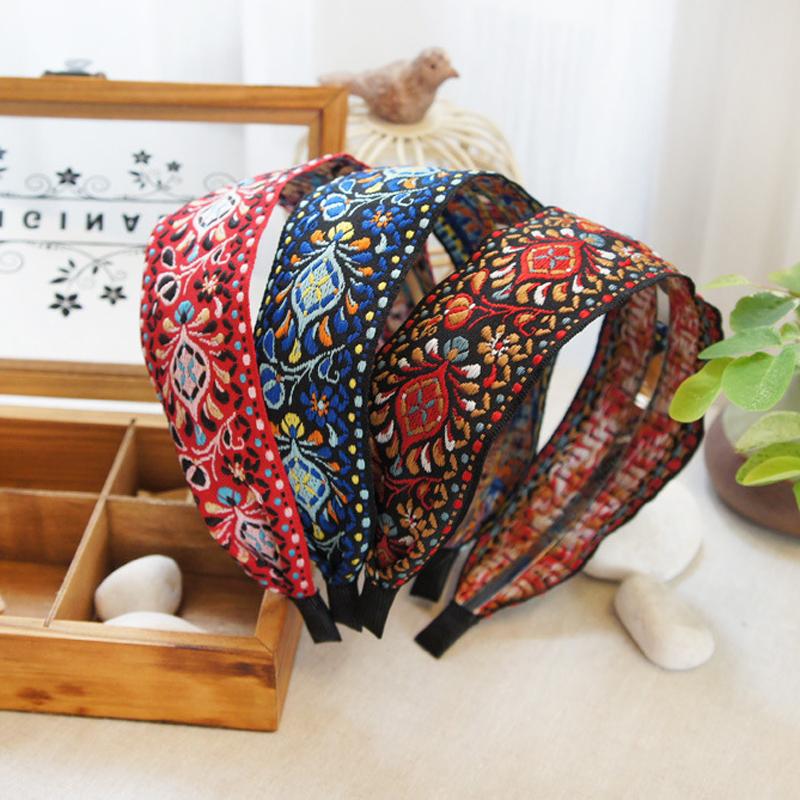 Newest Women Bohemian Ethnic Embroidered Ribbon Hairbands Headband Hair Accessories Beautiful Ethnic Pattern Wide Turban(China (Mainland))