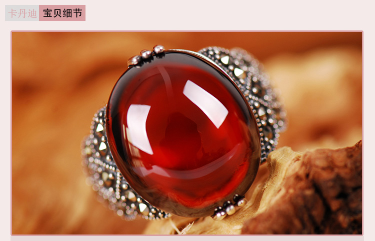 Vintage Silver Garnet Ring finger opening 925 female silver silversmith old national synthetic ruby<br><br>Aliexpress