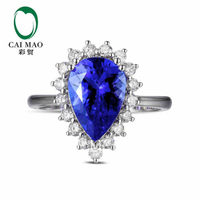 CaiMao 18KT/750  White Gold 3.30 ct Natural IF Blue Tanzanite AAA 0.53 ct Full Cut Diamond Engagement Gemstone Ring Jewelry<br><br>Aliexpress
