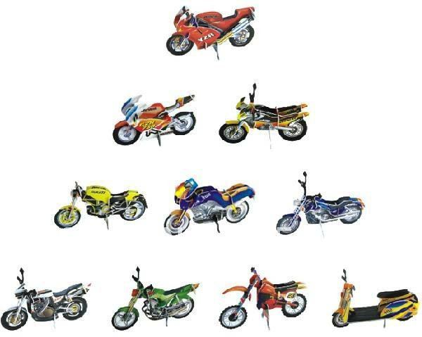 DIY Models,Home Adornment 3D puzzle motorcycle models set (10pcs),Paper craft,racing Card model