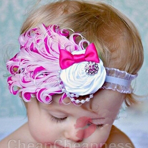 NEW Baby Hats /Toddle Head Band fashion design Baby dedicated feather flower modelling of diamond hair band/Hats(China (Mainland))