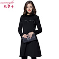 Elegant Vintage Fitted Black Dress Full Sleeve Lace Patchwork Winter Warm Business Sheath A Line Dress