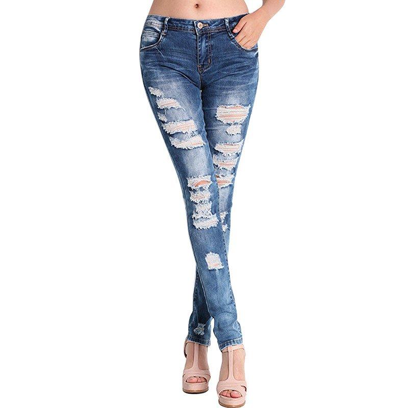 Мода брюки джинсы женщин отверстие стрейч хлопок разорвал Джинсы узкие джинсы wj