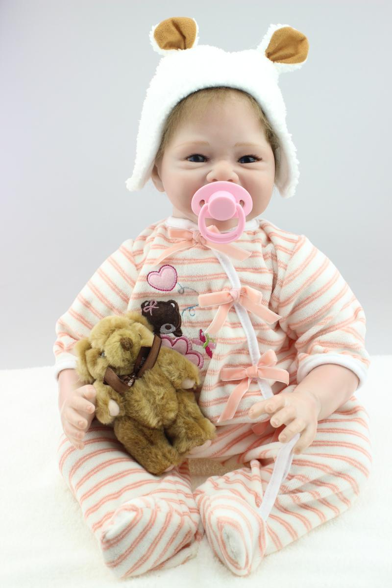 55cm Lovely silicone reborn baby dolls bonecas reborn baby alive christmas gift for kids  <br><br>Aliexpress
