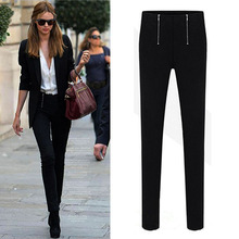 5XL 2016 Super Lady Zipper Pencil Pants Women mid Waisted Slim Stretch Leggings Trousers sexy hip slim ladies plus size Trousers(China (Mainland))
