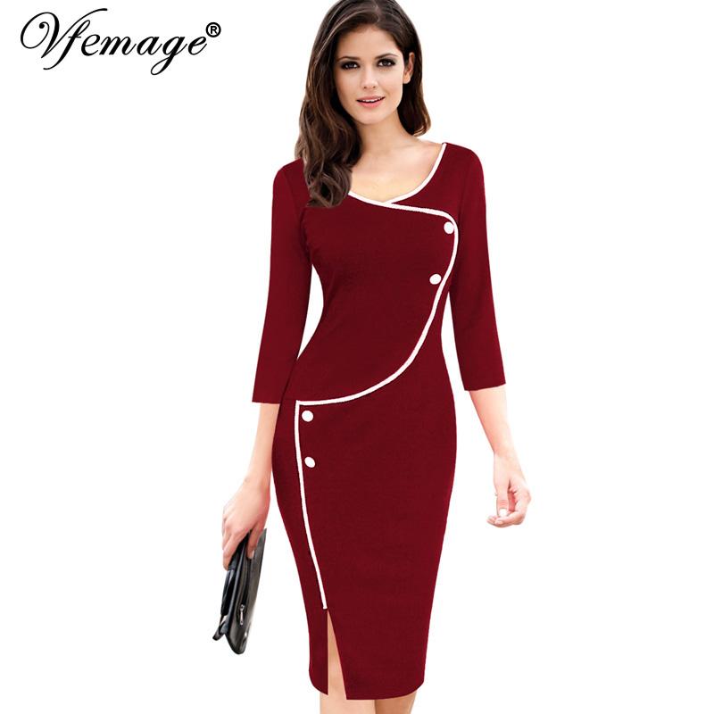 Vfemage Womens Vintage Brief Split Bottom Elegant Casual Work 3/4 Sleeve Deep O-Neck Bodycon Knee Women Office Pencil Dress 4239