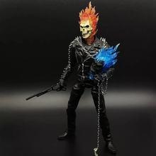 Johnny Blaze 23 cm Maravilha Ghost Rider figura de ação DO PVC brinquedos coleção modelo boneca anime dos desenhos animados para o amigo presente(China)