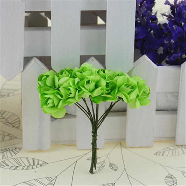 12pcs/lot Mini Paper Rose Handmake Artificial Flower Bouquet Wedding Decoration DIY Wreath Gift Scrapbooking Craft Fake Flower