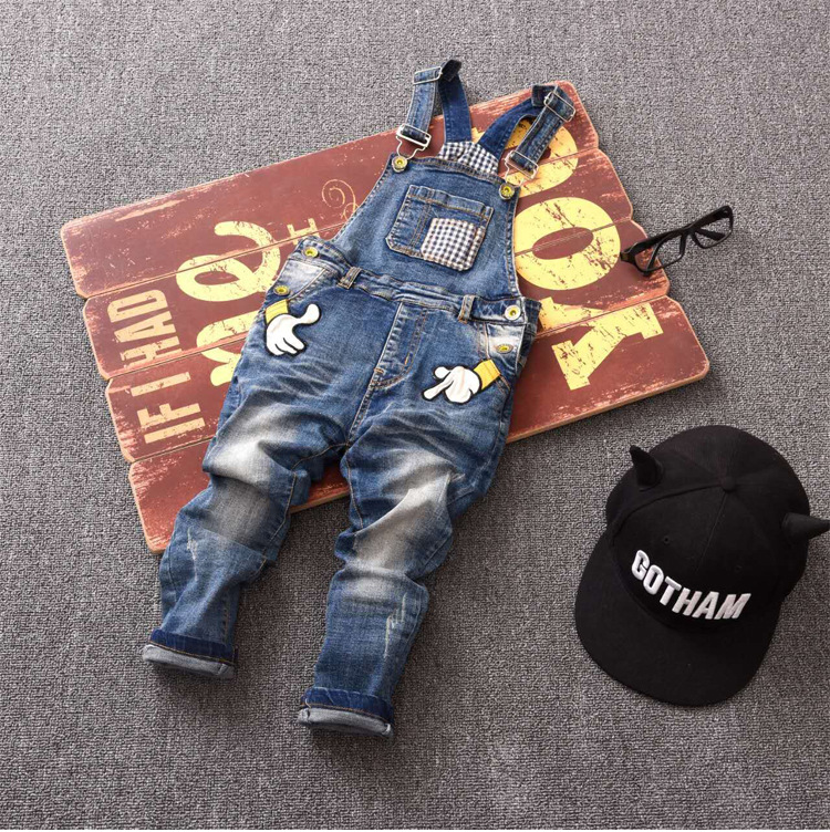 free shipping Classic spring autumn children's overalls infant soft denim bib pants baby boy girl jeans casual trousers 3-7T