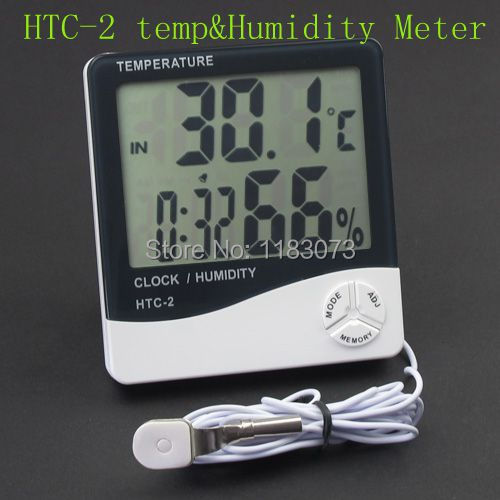 Temperature Thermometer Indoor Outdoor Humidity Meter HTC-2 Digital LCD Household Clock + 1m External Probe Free Shipping(China (Mainland))