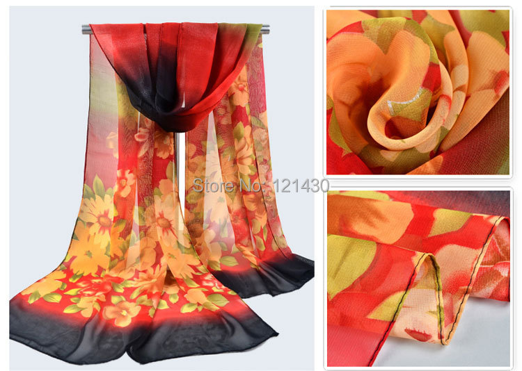 WS139 Hijab India Korean Design Chiffon Floral Printing Air-condition 2015 Women's Scarf Spring Summer Autumn - Mickey's House store